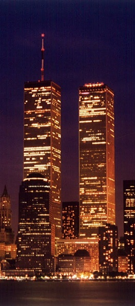 Image of the World Trade Center at night.